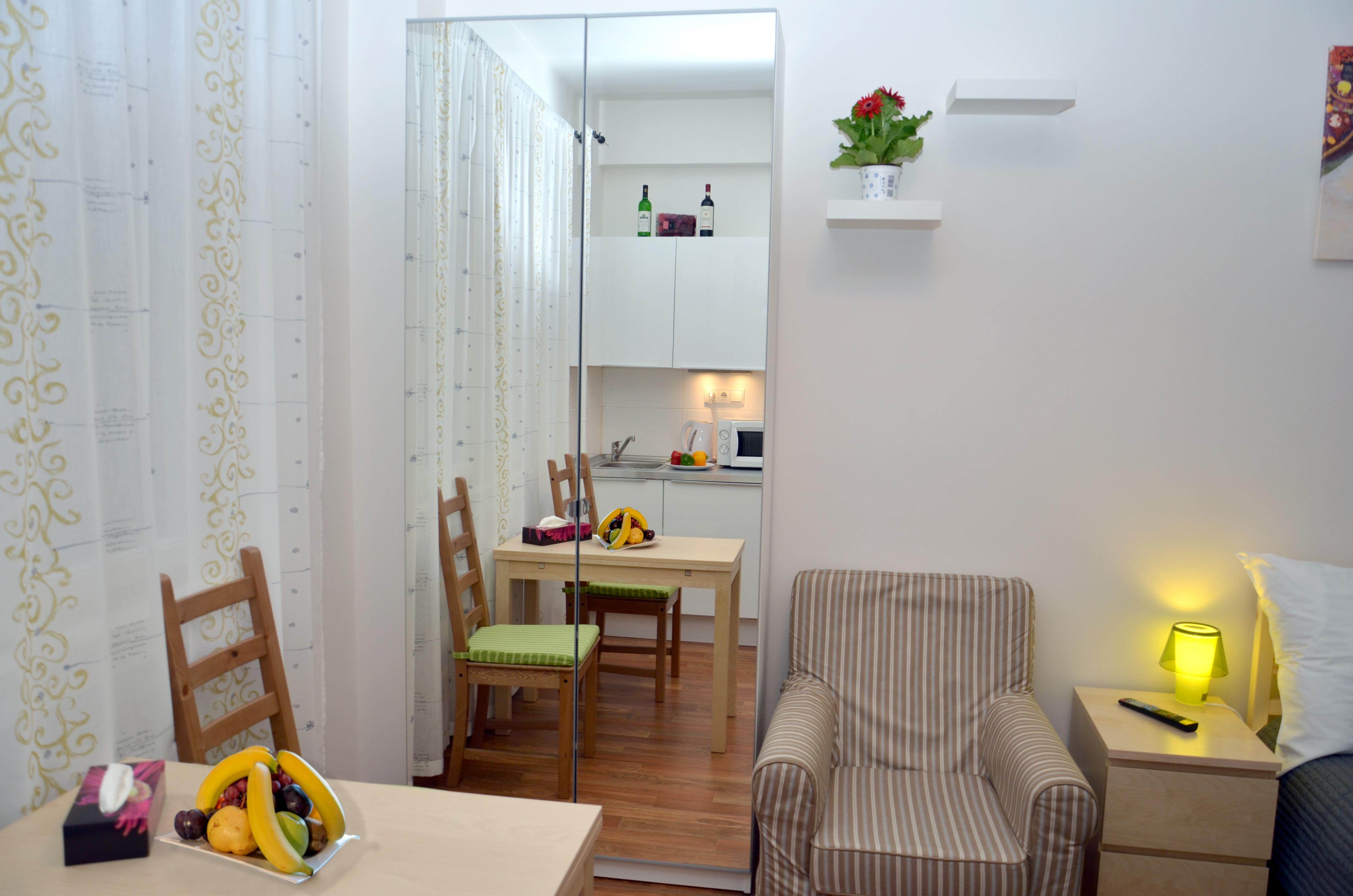 Charvatova-10 Studio Apartments Mirror Wardrobe